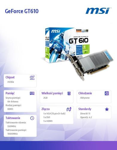 MSI GeForce CUDA GT610 2GB DDR3 PCI-E 64BIT DV/HDMI/DS BOX