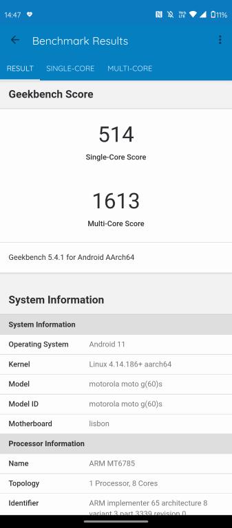 Motorola Moto g60s i Geekbench 5