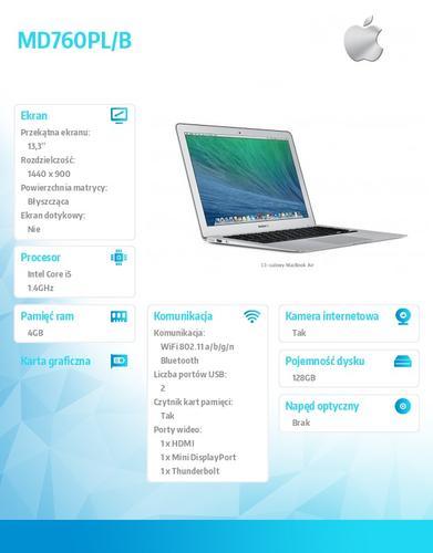 Apple MacBook Air 13.3/1.4GHz i5/4GB/128Flash/MD760PLB