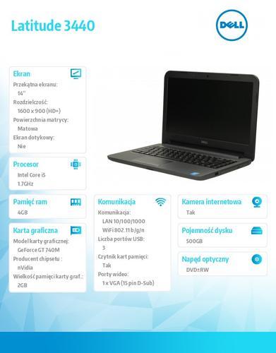 """Dell Latitude 3440 Ubuntu i5-4210U/500+8GB SSHD/4GB/GT 740M/14""""HD+/3YNBD"""