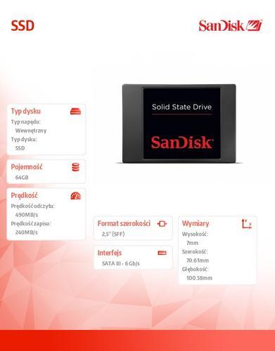 SanDisk SSD 64GB 2,5 490/240 MB/s SATA3