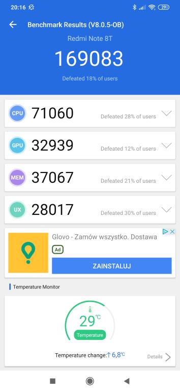 Redmi Note 8T - wynik w Antutu Benchmark