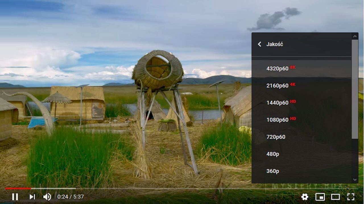 Opcja wyboru rozdzielczości 8K w jednym z filmów na YouTube