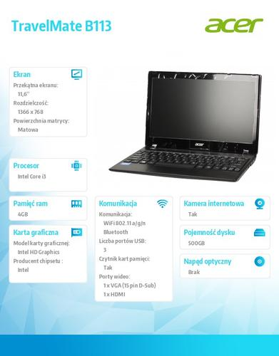 "Acer Travel Mate B113-M-33224G50AKK i3-3227U/11.6""/Intel HD/4GB/500GB/W7Pro+Win8Pro"
