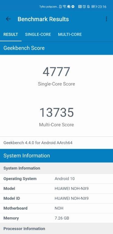 Wynik Huawei Mate 40 Pro w Geekbench 4