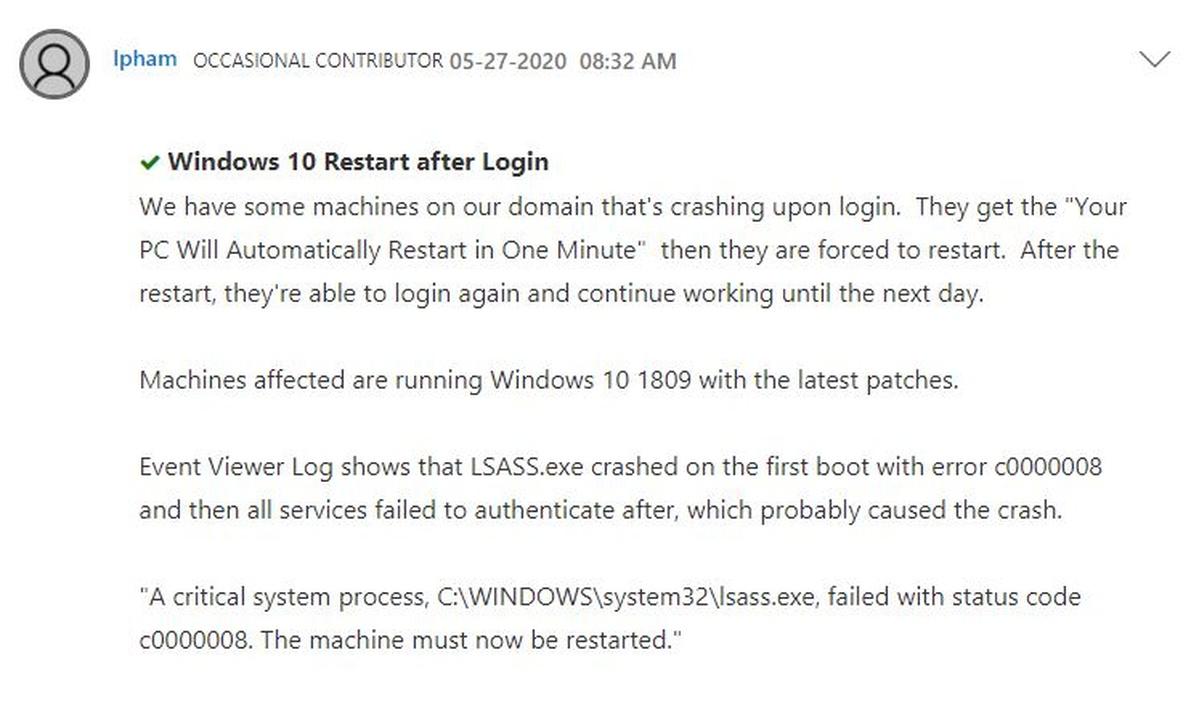 Pierwszy post dotyczący błędu Windowsa