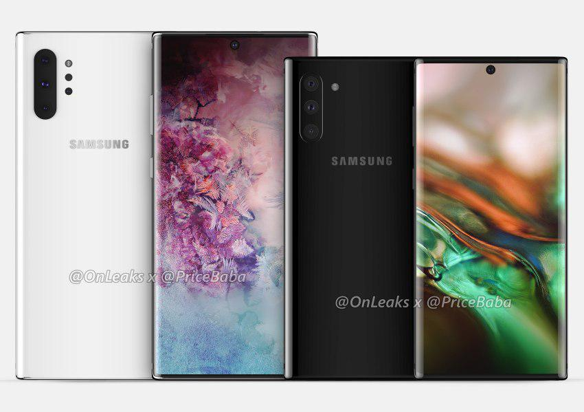 Samsung Galaxy Note 10 Pro i Note 10 będą różniły się wymiarami (źródło:Onleaks)