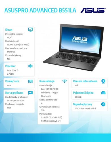 """Asus ASUSPRO ADVANCED B551LG-CN111D w/o OS i5-4310M/4GB/500GB+8GB SSD/GT840(N15S-GT) 4G/8DL/15.6"""" FHD AG Black"""