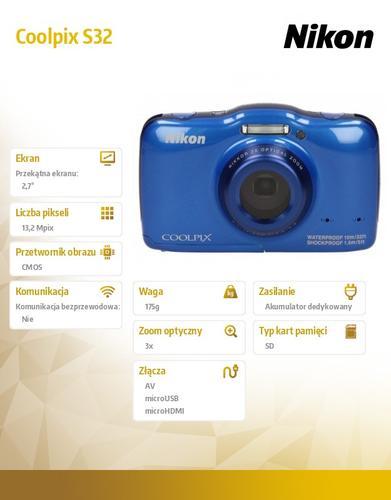 Nikon Coolpix S32 niebieski 13,2MPx, 3xOZ