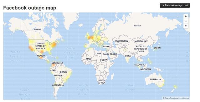 Mapa problemów z Facebookiem