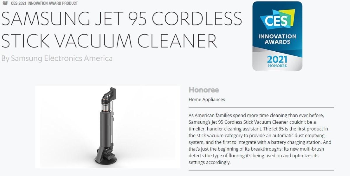Nagroda dla Samsunga Jet 95 na CES 2021