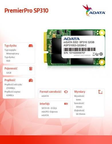 A-Data SSD PremierPro SP310 32 GB mSATA3 JMF667 285/50 MB/s