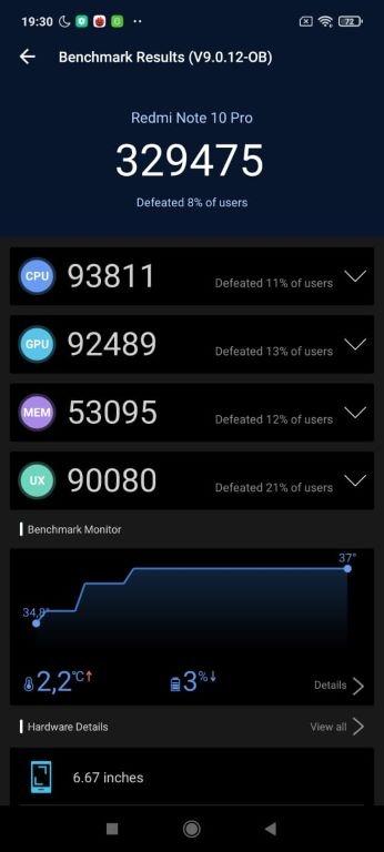 Antutu Benchmark v9 wynik Redmi Note 10 Pro