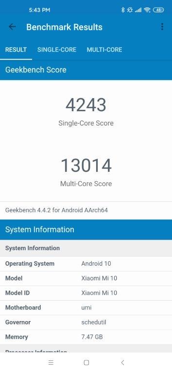 Xiaomi Mi 10 - wynik w Geekbench 4