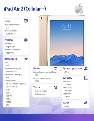 Apple iPad Air 2 64GB Wi-Fi Cell Gold MH172FD/A