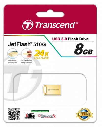 Transcend JETFLASH 510 8GB USB2 GOLD Metallic/Waterproof/Small