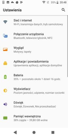 Sony Xperia XZ2 system i nakładka