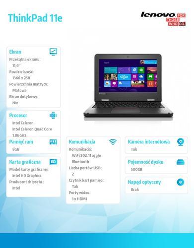 """Lenovo ThinkPad 11e 20DA0008PB Win 8.1 N2920/8GB/500GB/Intel HD/N-Optical/4c/11.6"""" HD AG Graphite Black N-WWAN/1 Yr CI"""