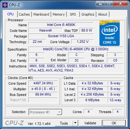 CPU-Z Okno Programu