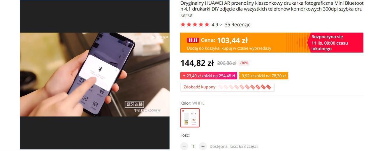 Huawei Printer pozwala na drukowanie zdjęć przez Bluetooth