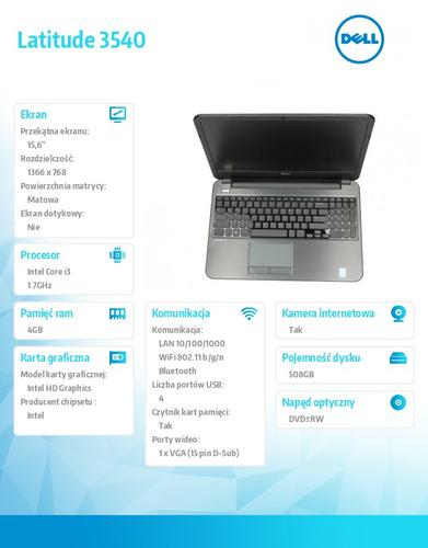 """Dell Latitude 3540 no OS i3-4030U/500GB/4GB/UMA/8xDVD+/-RW/4c/15.6"""" HD AG/3Y NBD"""