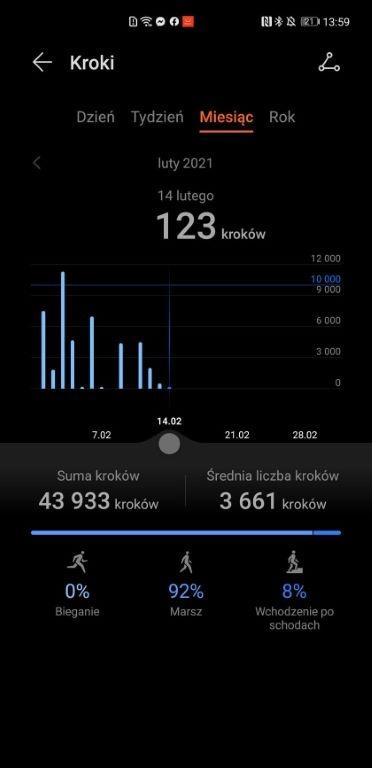 Pomiar kroków w aplikacji Huawei Zdrowie