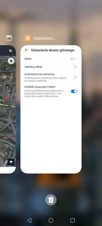 Widok listy aktywnych aplikacji