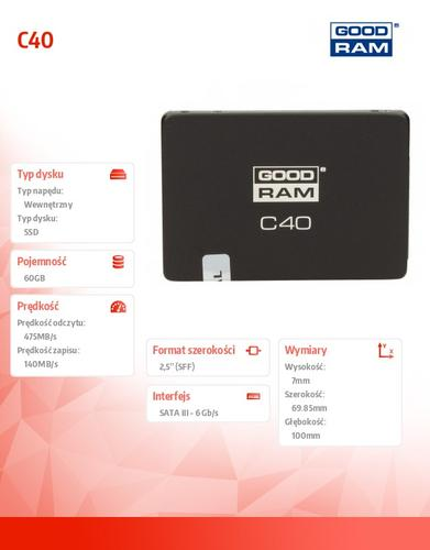 GoodRam SSD C40 60GB SATA3 2,5 475/140 MB/s 7mm