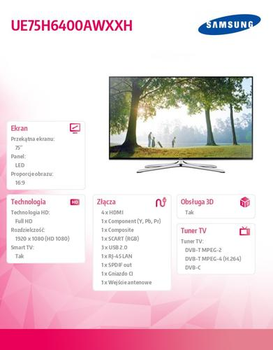 Samsung 75'' TV LED Full HD UE75H6400AWXXH