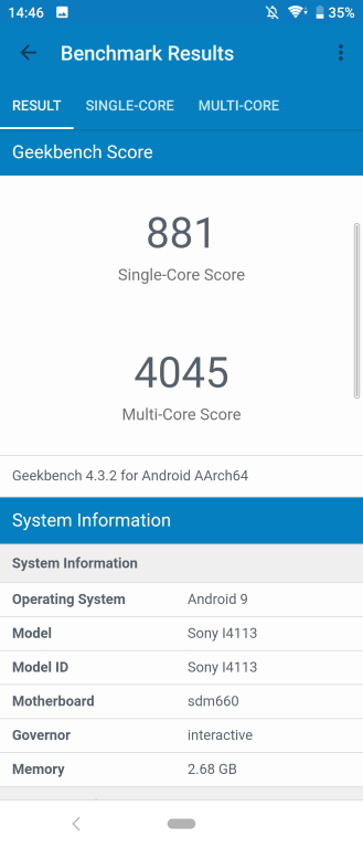 Geekbench wynik Sony Xperia 10