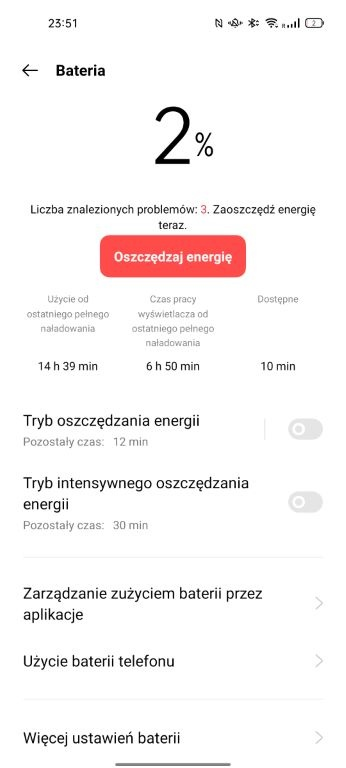 OPPO Reno6 5G - bateria po dniu korzystania