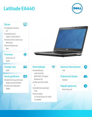 "Dell Latitude E6440 Windows 7 Pro PL i7-4610M/500+8GB SSHD/8GB/HD8790/9Cell/14"" HD+/FPR&SCR/KB_Backlit/WWAN/3YNBD"