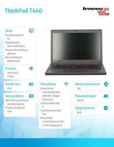 """Lenovo ThinkPad T440 20B6007JPB Win7Pro & Win8.1Pro 64-bit i7-4600U/8GB/SSD 180GB/Intel HD/N-Optical/3c/14.0"""" HD+ Black, LTE"""