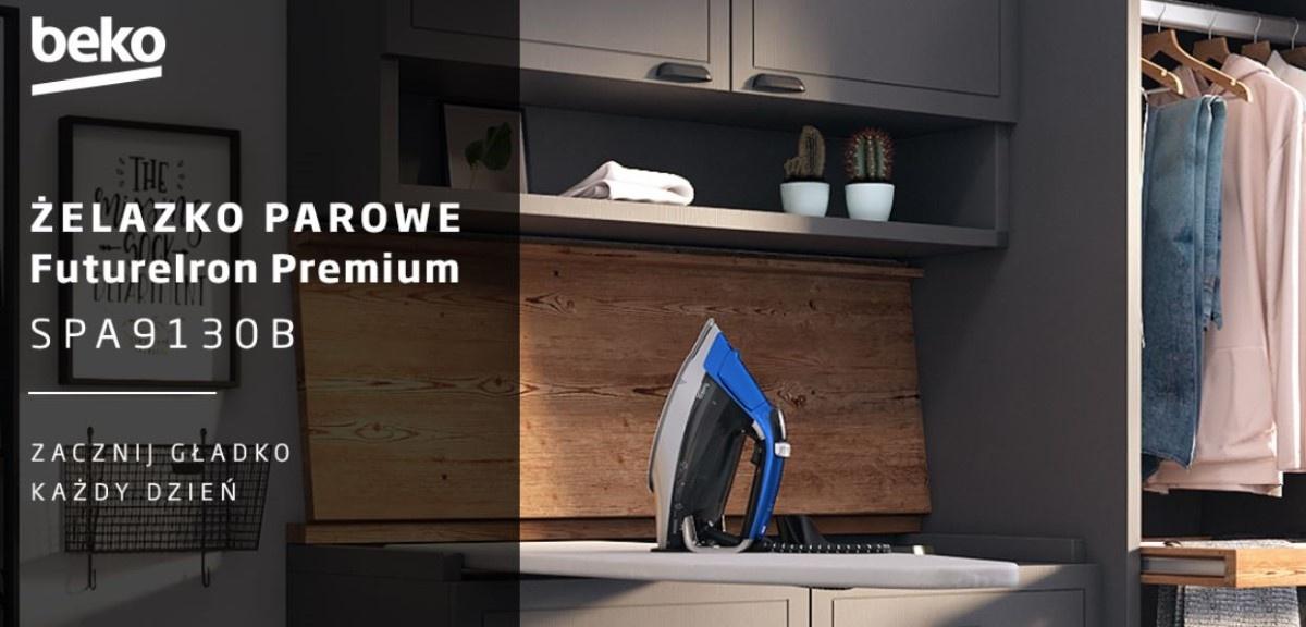 Żelazko Beko FutureIron Premium SPA9130B przy garderobie