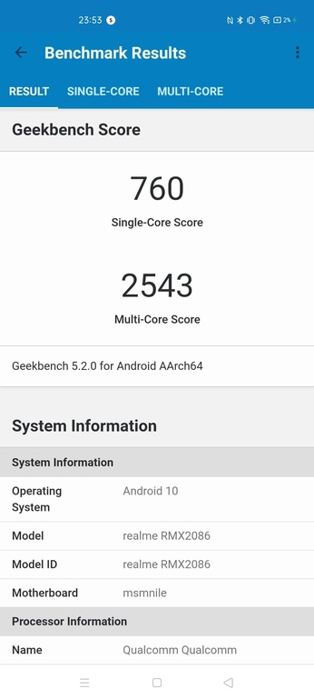 Geekbench 5 na realme x3 superzoom