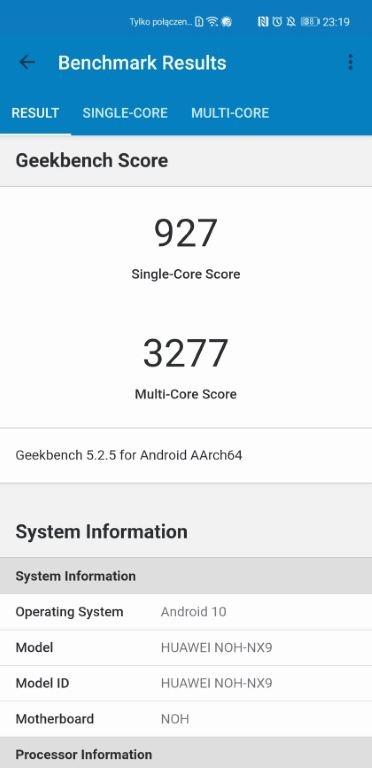 Wynik Huawei Mate 40 Pro w Geekbench 5