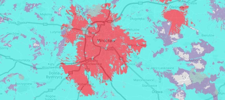 Tak prezentuje się sieć 5G we Wrocławiu w sierpniu 2021 roku (na czerwono)