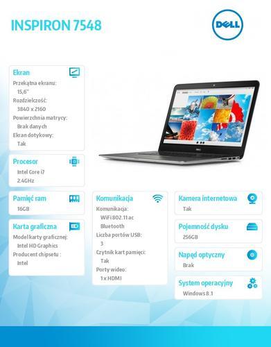 "Dell INSPIRON 7548 Win8.1(64-bit) i7-5500U/256GB/16GB/Discrete Graphics/BT 4.0/Office 2013/15.6"" UHD Truelife/KB-Backlit/2Y DND"