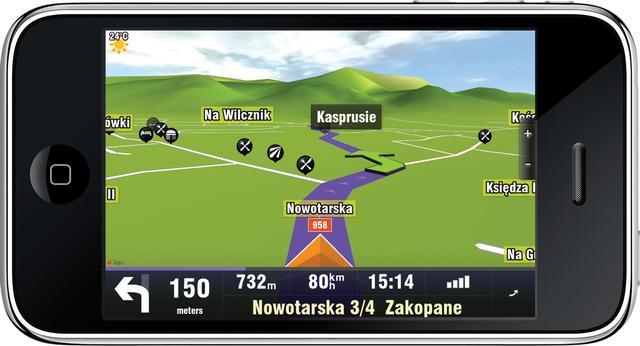 Nawigacja 3D dla iPhone wykorzystująca akcelerator 3D