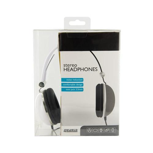 4World Słuchawki stereo pałąk białe 06532