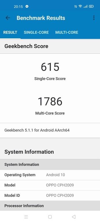 Oppo Reno3 Pro wynik w Geekbench 5
