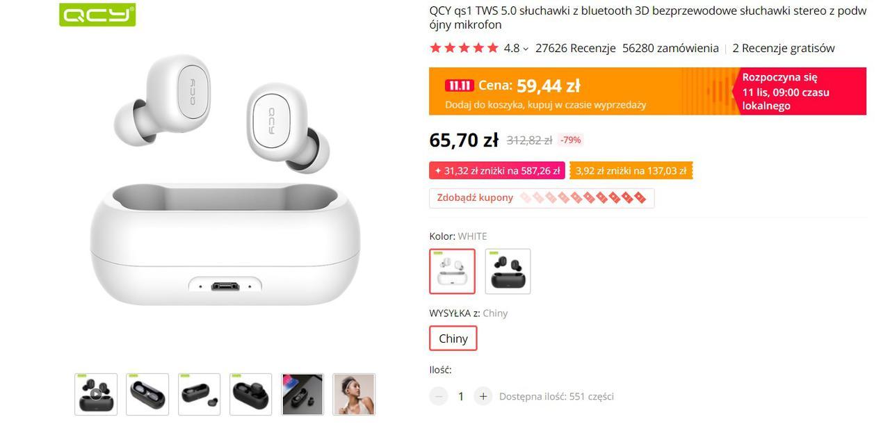 QCY QS1 to kompaktowe słuchawki w niskiej cenie