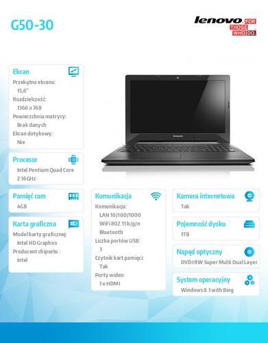 """Lenovo G50-30 80G001UYPB Win8.1 Bing N3540/4GB/1TB/15.6"""""""