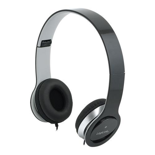 LogiLink Stylowe słuchawki stereo z mikrofonem, czarne