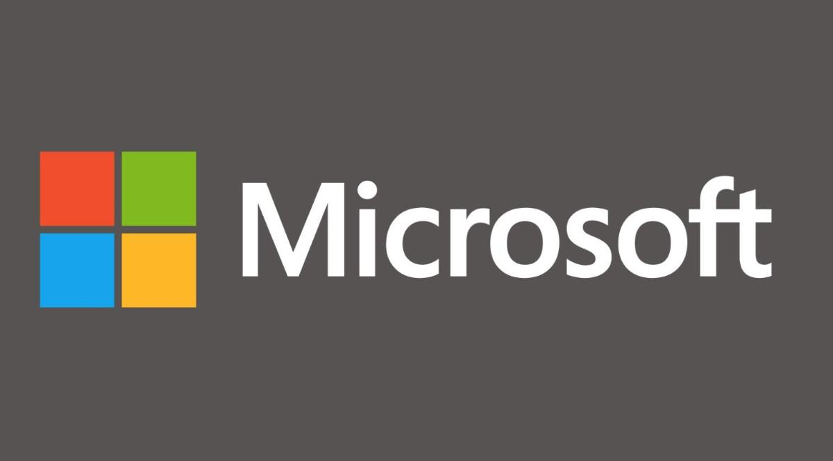 Szare tło i logo Microsoft