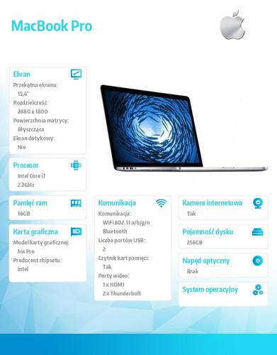 Apple MacBook Pro 15.4/2.2GHz i7/16GB/256GB/IR MJLQ2ZE
