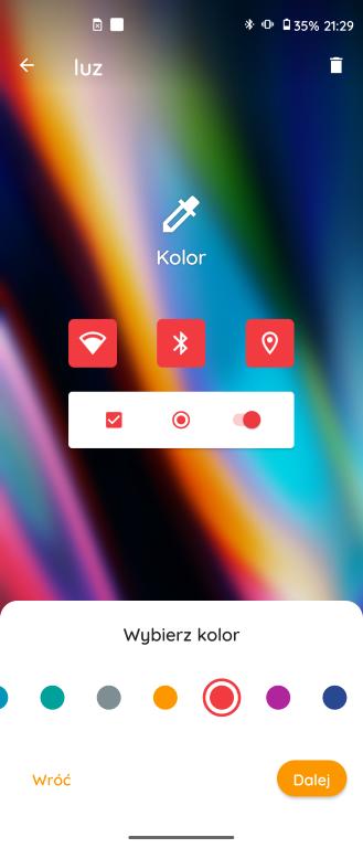 Wybór koloru w Motorola My UX