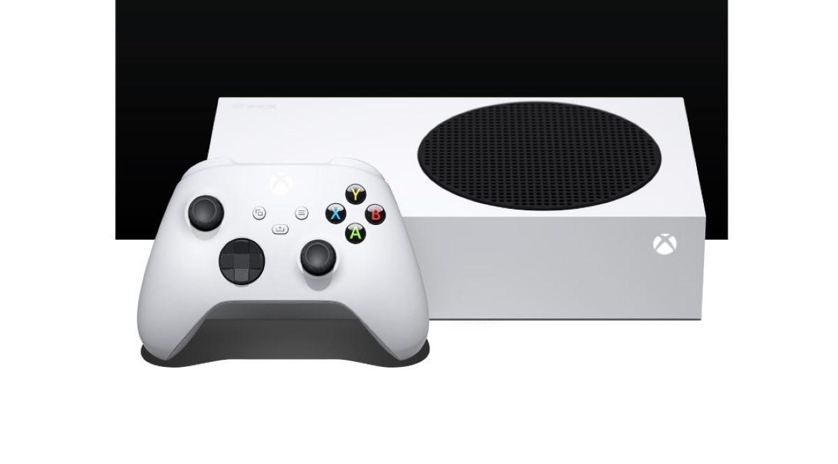 Xbox Series S na czarno-białym tle