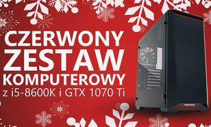 Świąteczny Zestaw Komputerowy z GTX 1070 Ti i i5-8600K w Czerwieni