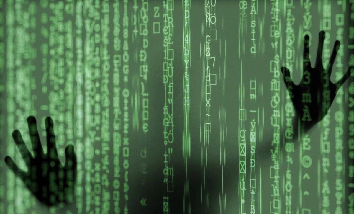 Osoba uwięziona za zieloną ścianą z Matrixa